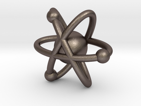 Atom Charm in Polished Bronzed-Silver Steel