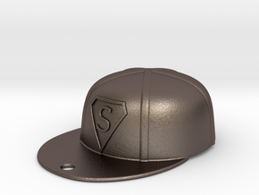 Baseball Cap in Polished Bronzed Silver Steel