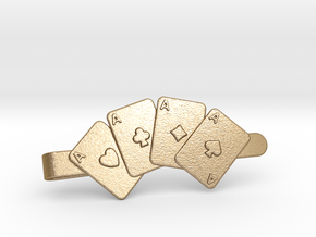 Aces Clip Wallet in Polished Gold Steel