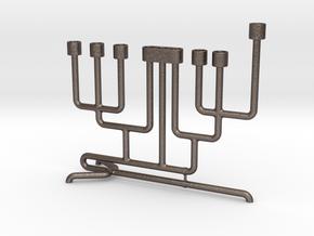 Pipe Menorah in Polished Bronzed Silver Steel