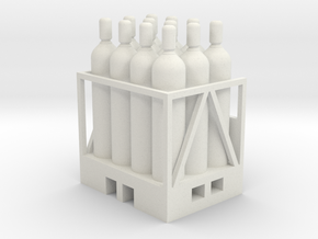 Acetylene Tanks On Pallet 1-87 HO Scale in White Natural Versatile Plastic