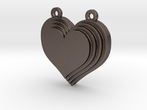 Terracing Heart Pendant in Polished Bronzed Silver Steel