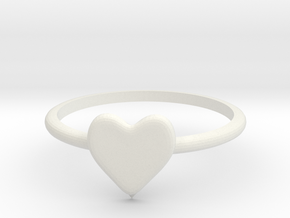 Heart-ring-solid-size-13 in White Natural Versatile Plastic