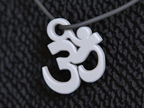 Om Pendant (Devanagari) in White Strong & Flexible Polished