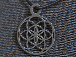 Seed Of Life Pendant in Polished and Bronzed Black Steel