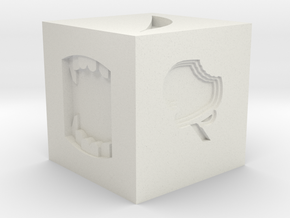 Token Dice in White Natural Versatile Plastic