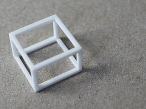 CUBE - ring or pendant - 4P in White Natural Versatile Plastic