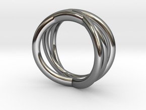 Three Orbits Entwined:Trinity UK Size O (US  7¼)  in Fine Detail Polished Silver