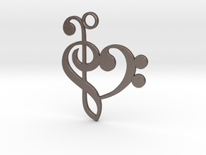Heart of Music in Polished Bronzed Silver Steel