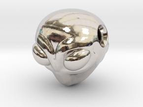 Reversible Alien head pendant in Rhodium Plated Brass