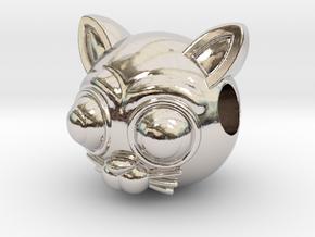 Reversible Cat head pendant in Rhodium Plated Brass