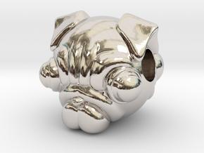 Reversible pug head pendant in Rhodium Plated Brass