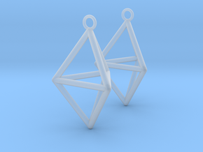 Pyramid triangle earrings type 3 in Smooth Fine Detail Plastic