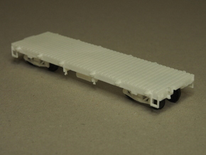 HOn3 25ft Flatcar, without stakes in White Natural Versatile Plastic