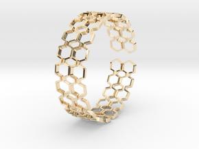 Honeyfull S Bracelet, Medium Size, 65mm in 14k Gold Plated Brass: Medium