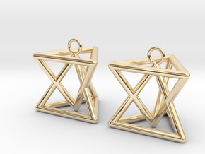 Pyramid triangle earrings type 7 in 14K Yellow Gold