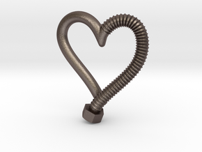 Heart-screw pendant in Polished Bronzed Silver Steel