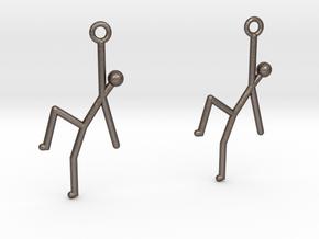Stick Man Earrings in Polished Bronzed Silver Steel