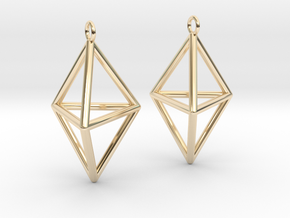 Pyramid triangle earrings type 3 in 14k Gold Plated Brass