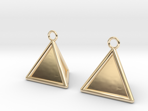 Pyramid triangle earrings type 16 in 14k Gold Plated Brass