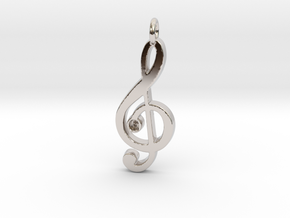 G Clef Pendant with «G» in Rhodium Plated Brass