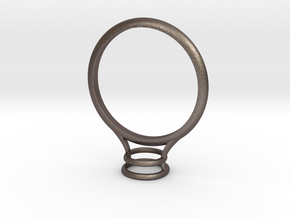 Bezel Ring- Circular in Polished Bronzed Silver Steel
