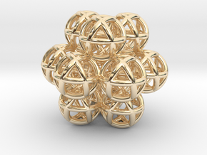 13 Vector Equilibrium Spheres Fractal Sacred Geome in 14K Yellow Gold