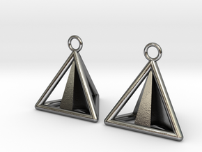 Pyramid triangle earrings Serie 2 type 3 in Polished Silver