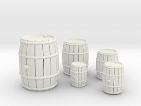 Wooden Barrels Kit in White Natural Versatile Plastic