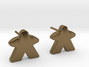 Meeple Earrings (studs) in Polished Bronze