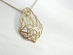 Baroque Stone Pendant in Natural Brass
