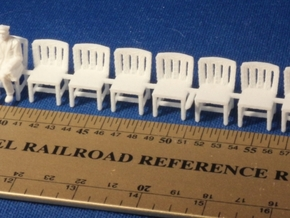 HO SCALE Simple Chairs (x10) in White Strong & Flexible