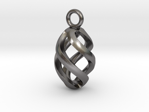 Twisted Oval Pendant in Polished Nickel Steel