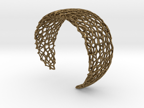 Voronoi Cuff Bracelet - Medium sized cells in Natural Bronze