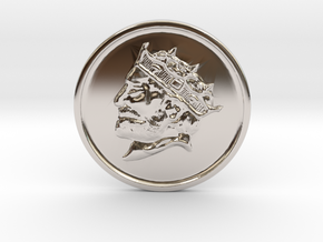 Silver Trenni Coin in Rhodium Plated Brass