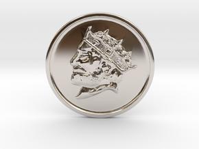 Silver Trenni Coin in Rhodium Plated Brass