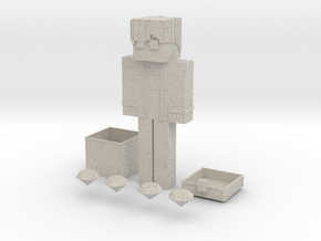 Minecraft Character With a Chest & Diamonds  in Natural Sandstone