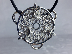 Snakes Intertwined Pendant in Polished Silver