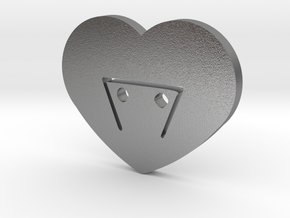 Moon-glyph-heart-earth in Natural Silver