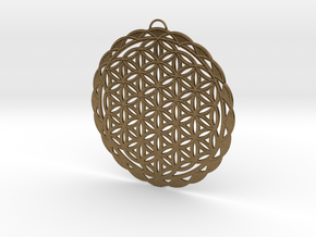 Flower of Life Pendant in Natural Bronze