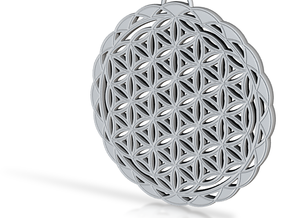 Flower of Life Pendant 2 in Aluminum