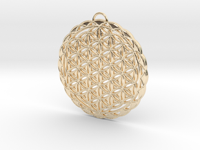 Flower of Life Pendant 2 in 14k Gold Plated Brass