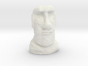 TT Gauge Moai Head (Easter Island head) in White Natural Versatile Plastic