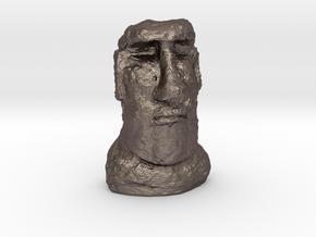 28mm/32mm scale Moai Head  in Polished Bronzed Silver Steel
