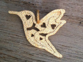 Pendant 'Bird' in Polished Gold Steel