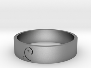 Moon-glyph-energy-ring in Raw Silver
