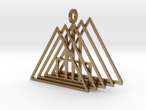 A Frame pendant in Polished Gold Steel