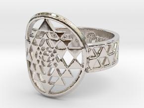 Sri Yantra Music, Love & Prosperity Ring Size 8 in Rhodium Plated Brass