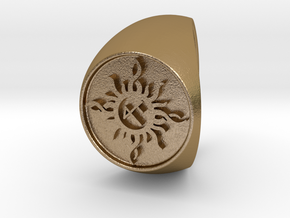 Custom Signet Ring 22 Size 13.5 in Polished Gold Steel