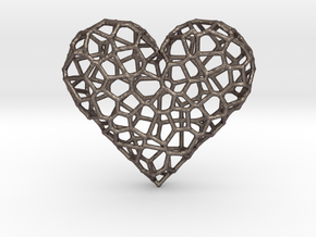 Voronoi Heart pendant (version 1) in Polished Bronzed Silver Steel